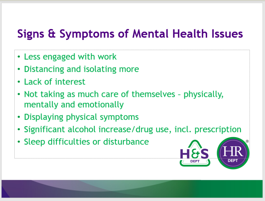 Signs and symptoms of mental health issues